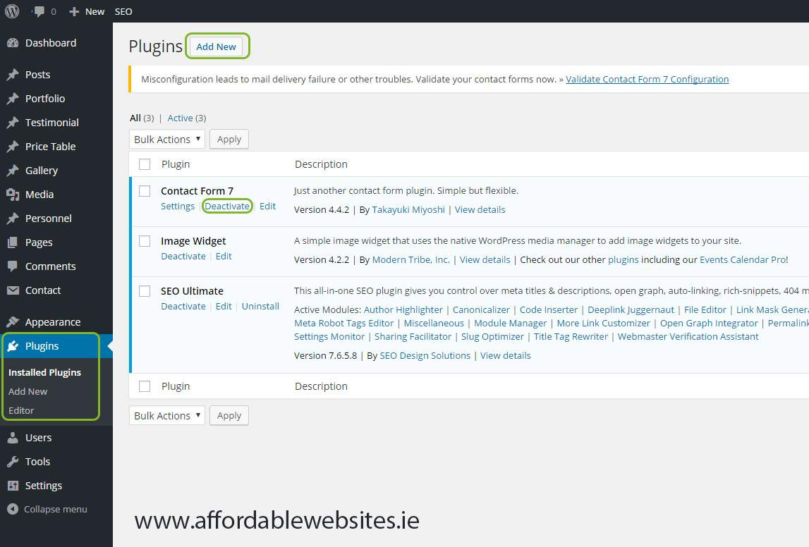 Affordablewebsites.ie tutorial on how to activate & deactivate wordpress plugins